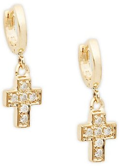 14K Yellow Gold & Diamond Cross Drop Earrings