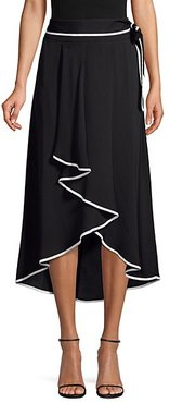 Tie-Waist Contrast Piping High-Low Midi Skirt