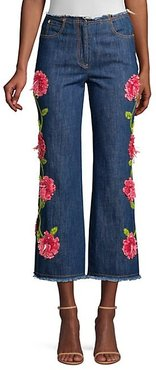 Cropped Embroidered Flare Jeans