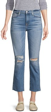 Edie High Rise Ankle Straight-Leg Distressed Jeans