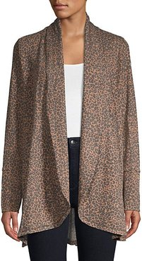 Printed Open-Front Cardigan