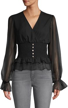 Sheer-Sleeve Faux Pearl-Button Blouse