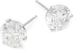 14K White Gold & 3.0 TCW Diamond Stud Earrings