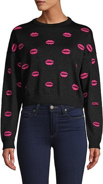 Lips Embroidered Wool-Blend Cropped Sweater