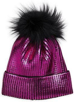 Fox Fur Pom-Pom Metallic Beanie