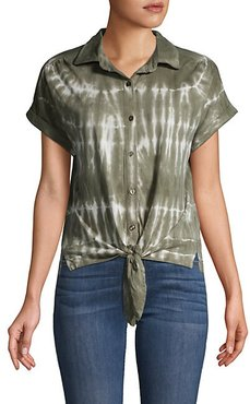 Tie-Dyed Cotton-Blend Shirt