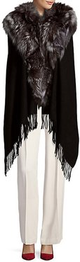 Textured Wool Cape with Dyed Fox Fur