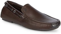 Grained Leather Boat Shoes