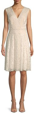 Embroidered Lace Knee-Length Dress