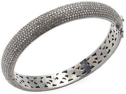 Sterling Silver & Diamond Bangle Bracelet