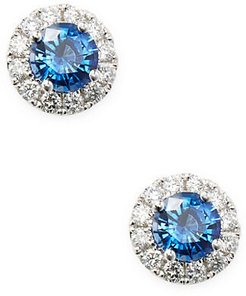 18K White Gold, Sapphire & Diamond Round Stud Earrings