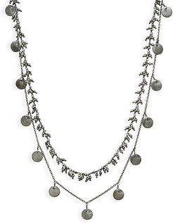 Oxidized Sterling Silver & Pyrite Double-Strand Necklace