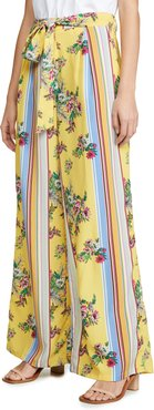 Yellow Floral Stripe Trousers