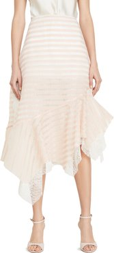 Sheer Striped Lace Skirt with Side Ruffles