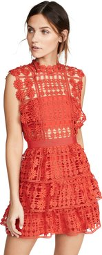 Red Floral Lattice Lace Dress