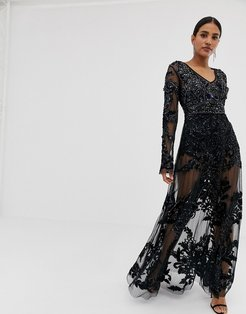 allover embellished maxi dress in black