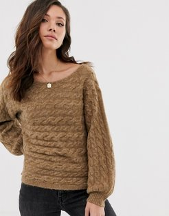 knit sweater in toasted coconut-Stone