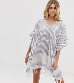 Exclusive beach caftan dress in stripe-Multi