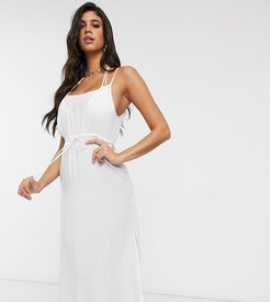 Exclusive midi beach dress with ruche detail in white