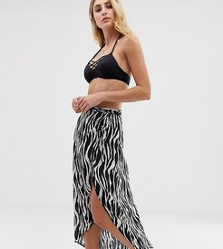 Exclusive zebra print wrap beach skirt-Multi