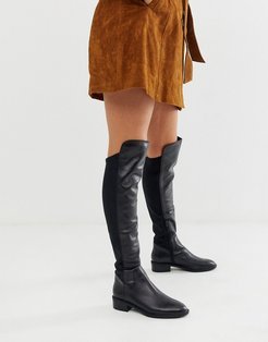 Byssa over the knee flat boot in black leather