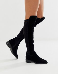 Byssa over the knee flat boot in black suede