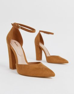Nicholes heeled pumps with ankle strap in brown