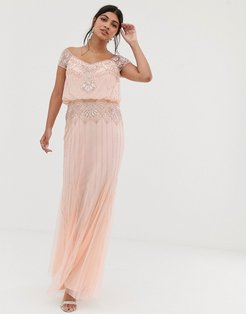baroque embellished cap sleeve maxi dress in soft peach-Pink