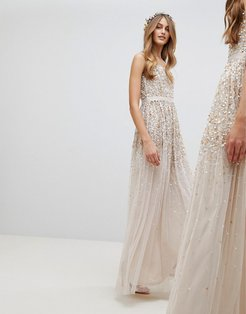 Embellished Ombre Sequin Cami Strap Maxi Dress-Brown
