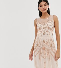 embellished sleeveless maxi dress in soft peach-Pink