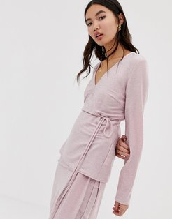 wrap front long sleeve top-Pink
