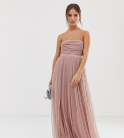 With Love tulle bandeau maxi dress with satin trim in blush-Pink