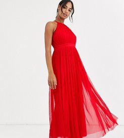 With Love tulle halterneck midaxi dress with satin trim in red