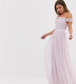 With Love tulle ruffle shoulder bardot maxi dress with satin trim in soft pink-Green