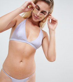 Exclusive metallic brazllian bikini bottom in lavender-Blue