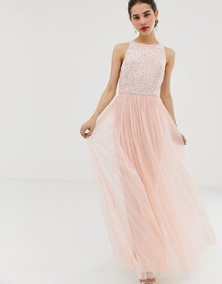 Angel Eye tulle maxi dress with embellished detail-Pink