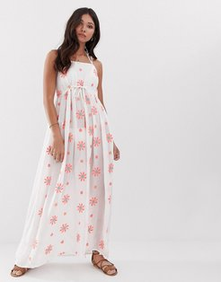 Floral Embroidered Maxi Beach Dress With Floral Embellishment-White