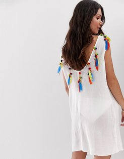 Low Back Beach Caftan With Faux Feather and Pom Trim-White