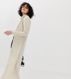 90s ribbed maxi cardigan with collar-Beige