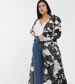maxi rain mac in bleach print-Multi