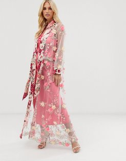 maxi kimono in sheer 3d embroidered mesh with ribbon tie-Pink