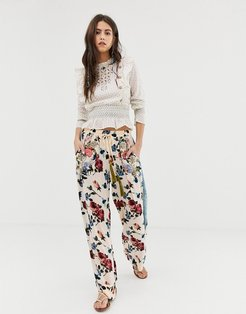 relaxed floral pants with velvet side strips-White
