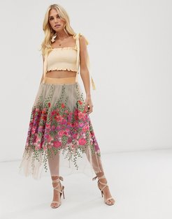 tulle midi skirt with floral embroidery and embellishment-White