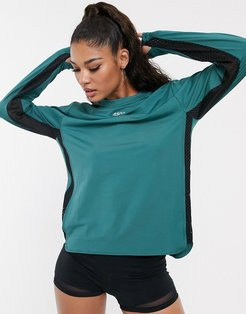 4505 long sleeve top with mesh side-Black