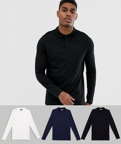 3 pack organic long sleeve jersey polo save-Multi