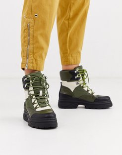 Advantage sporty flat lace up ankle boots-Green