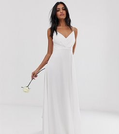 Bridesmaid cami maxi dress with ruched bodice and tie waist-White