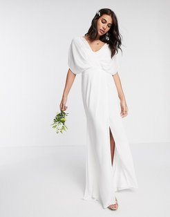 Bridesmaid short sleeved cowl front maxi dress with button back detail-White