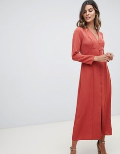 button through maxi dress with long sleeves-Red