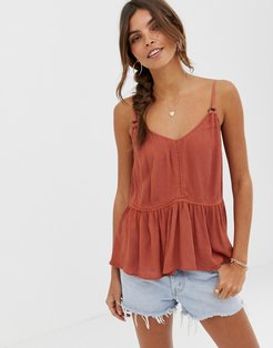 crinkle cami with lace inserts and ring detail sun top-Orange